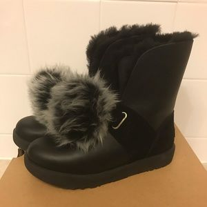 UGG ISLEY WATERPROOF BLACK LEATHER WOMEN`S BOOTS